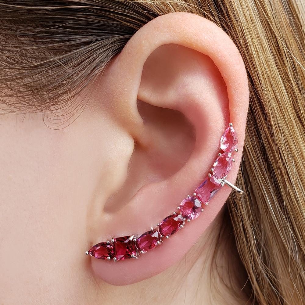 Brinco Ear Cuff Zircônias Rosas Vermelhas Gota Quadrado Oval Folheado Ródio Branco