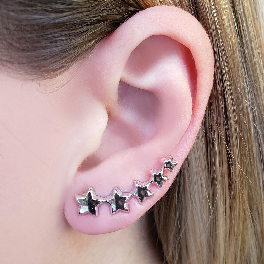 Brinco Ear Cuff Estrelas Folheado em Ródio Branco
