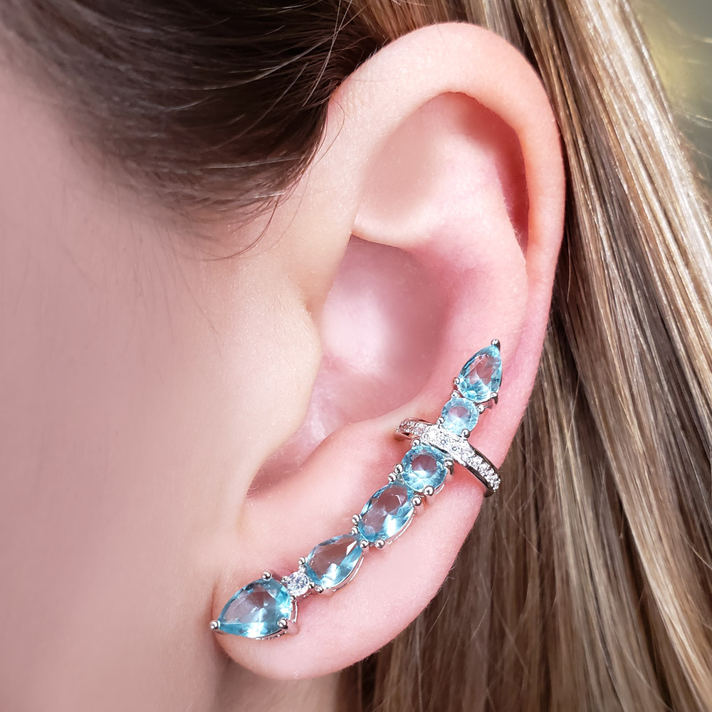 Brinco Ear Cuff Zircônias Azuis Folheado em Ródio Branco