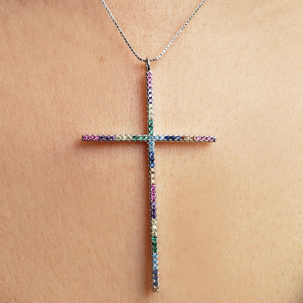 Colar Crucifixo Rainbow Ródio Branco