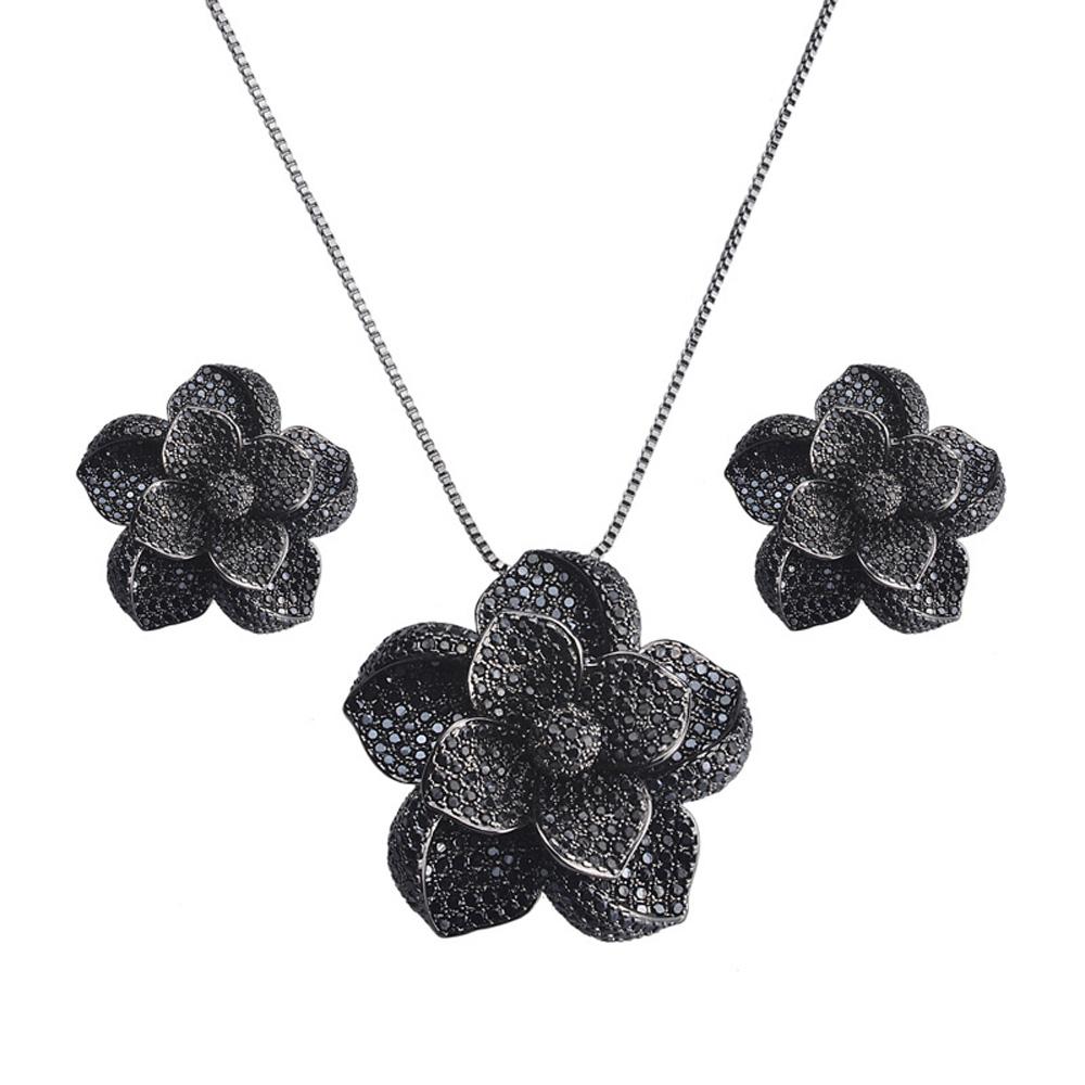 Colar Flor Luxo Ródio Negro Zircônias Negras