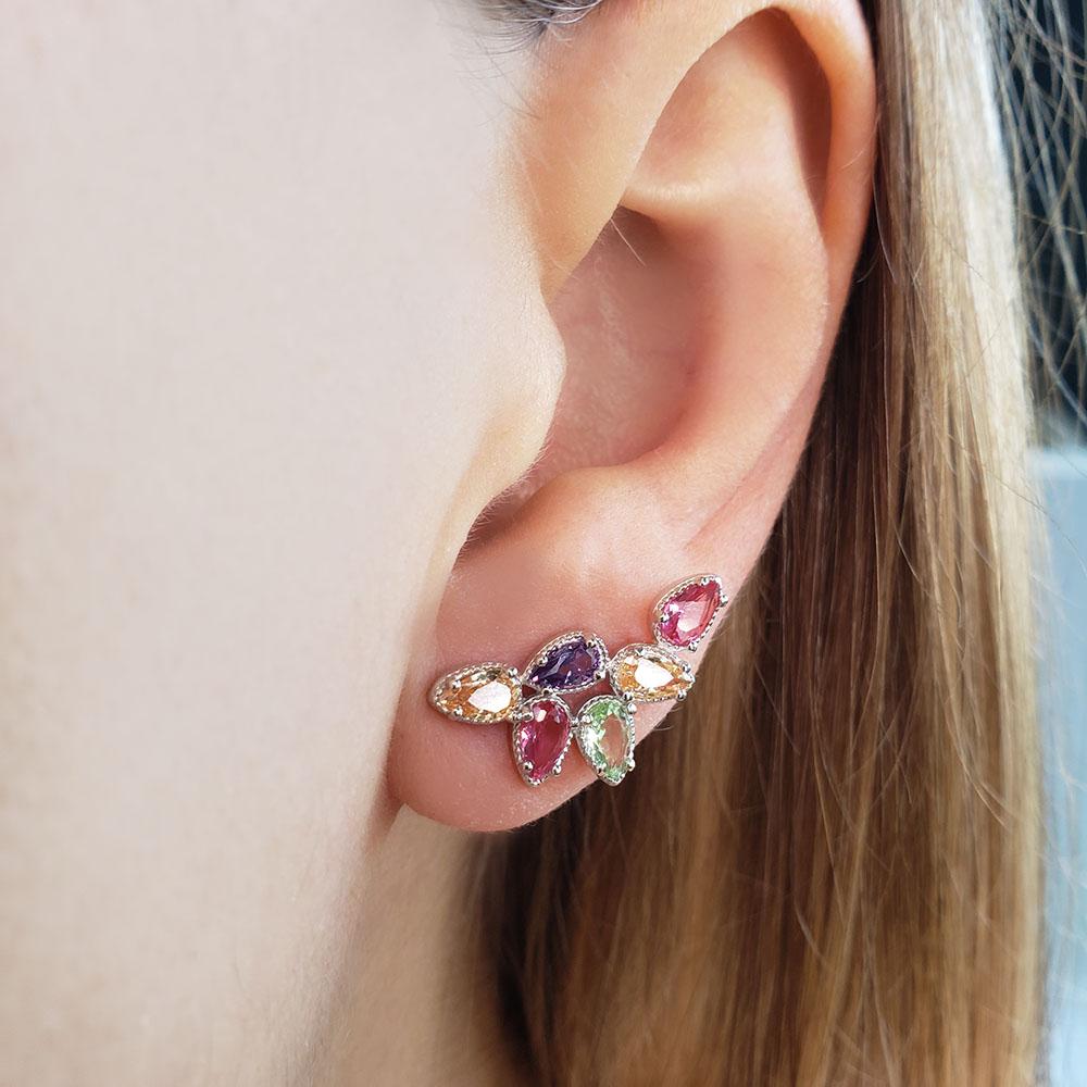 Brinco Mini Ear Cuff Gotas Rainbow Prata 925