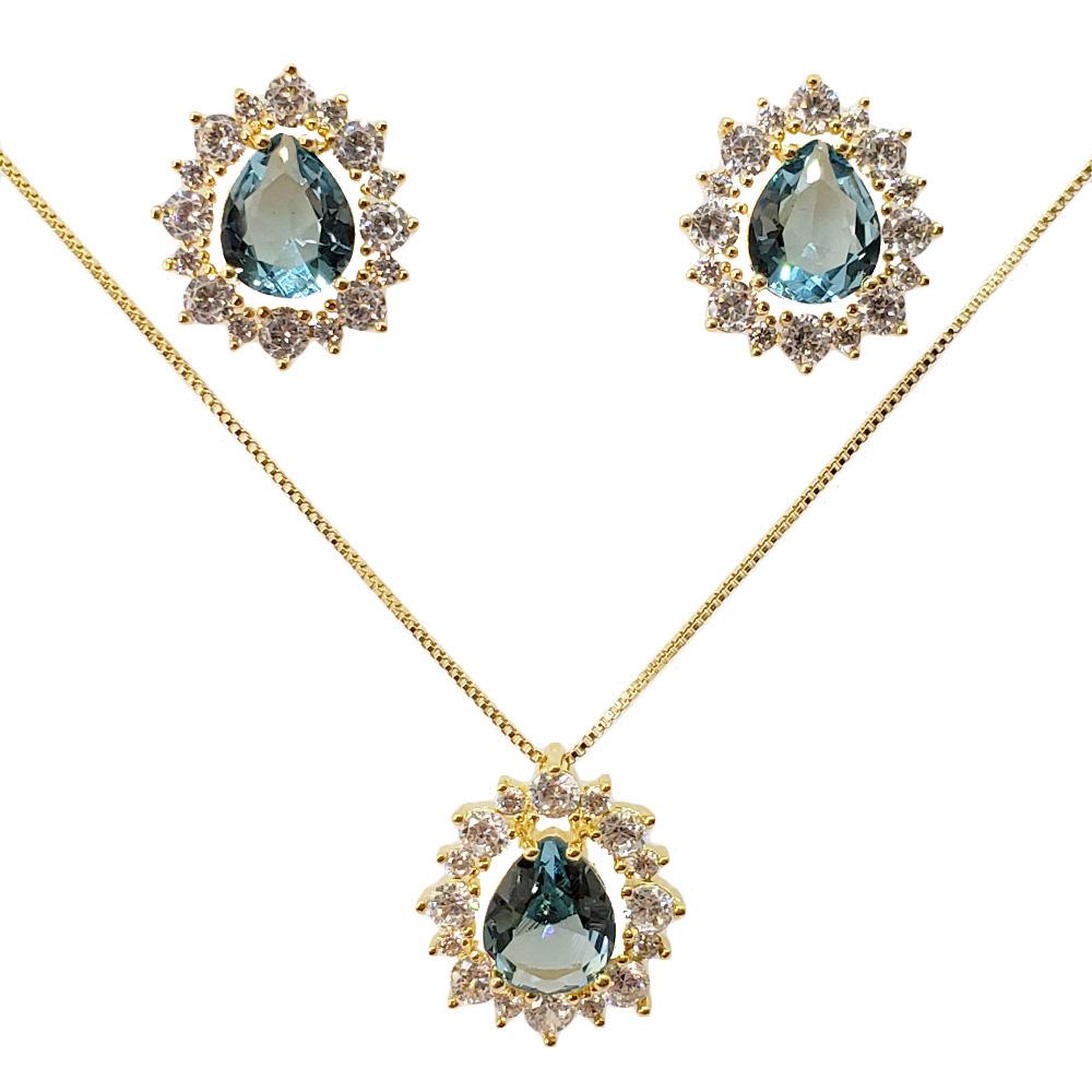Colar e Brincos Gota Zircônias Cristal Azul Aquamarine Folheado em Ouro 18k
