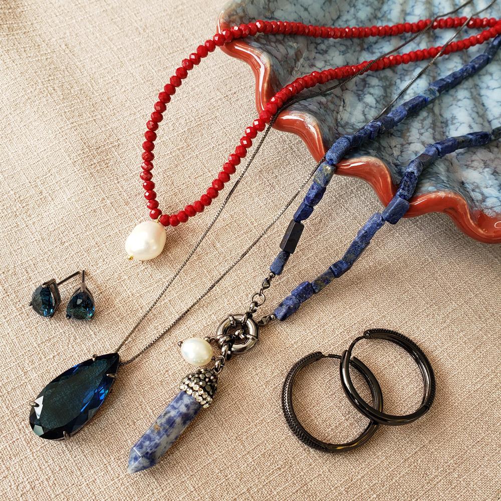 Colar Pedras Retangulares Azul Pingente Pérola Dente de Tigre Cristais Ródio Negro