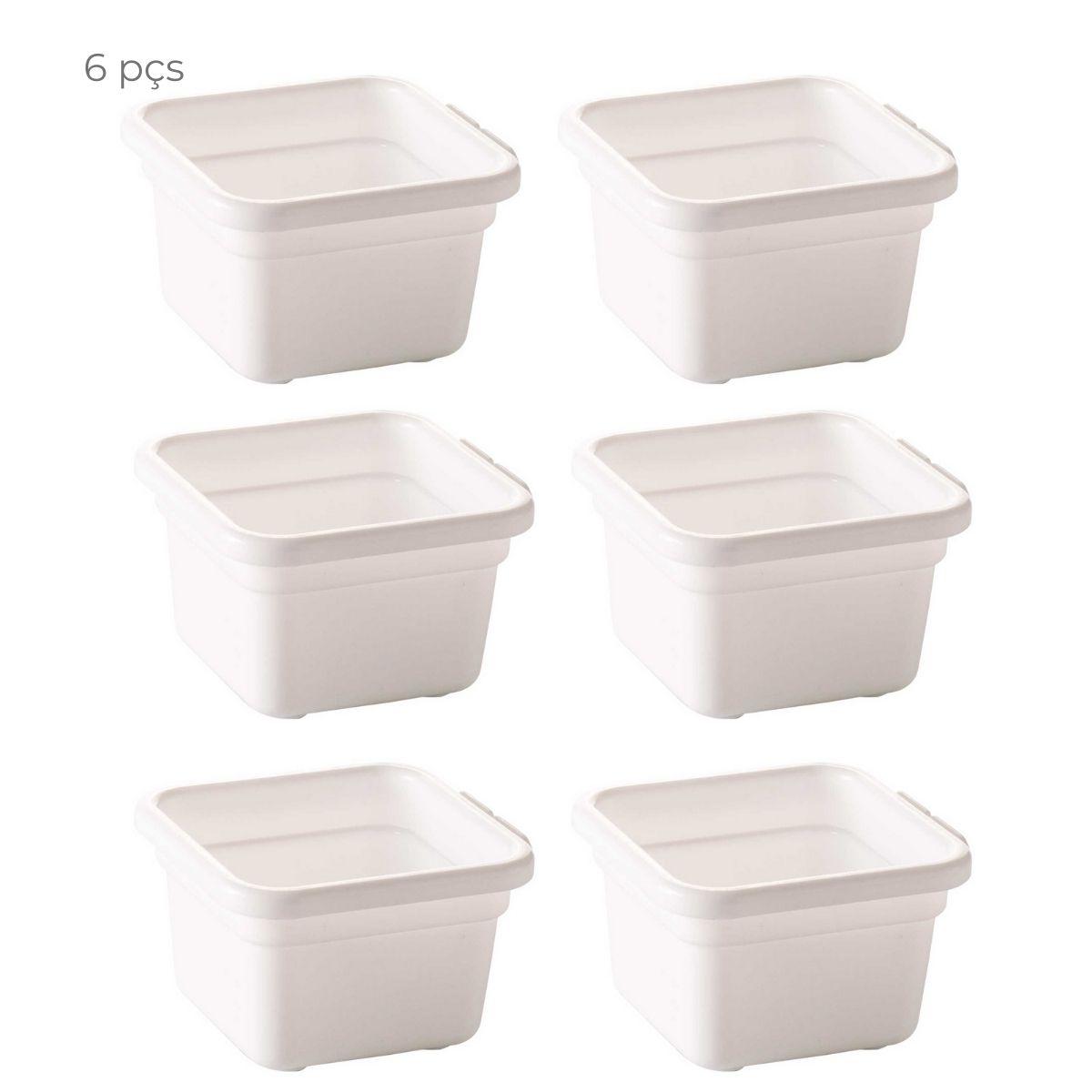 Conjunto 6 organizadores de gaveta 7,9cm com encaixe Branco