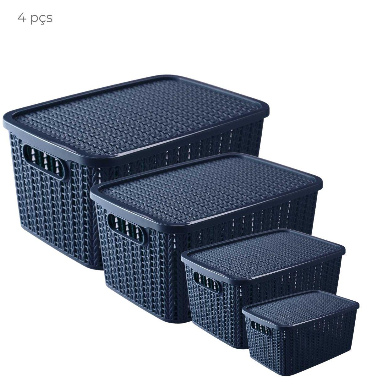Conjunto com 4 caixas organizadoras retangular Trama Azul