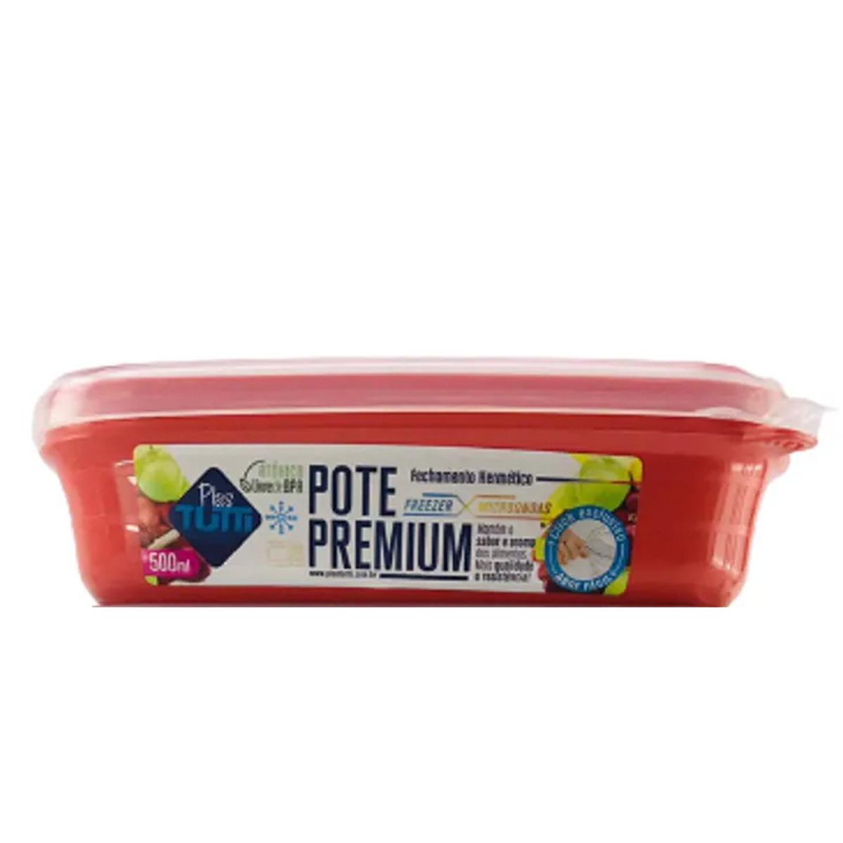 Pote de plástico retangular 500ml trava hermética Vermelho