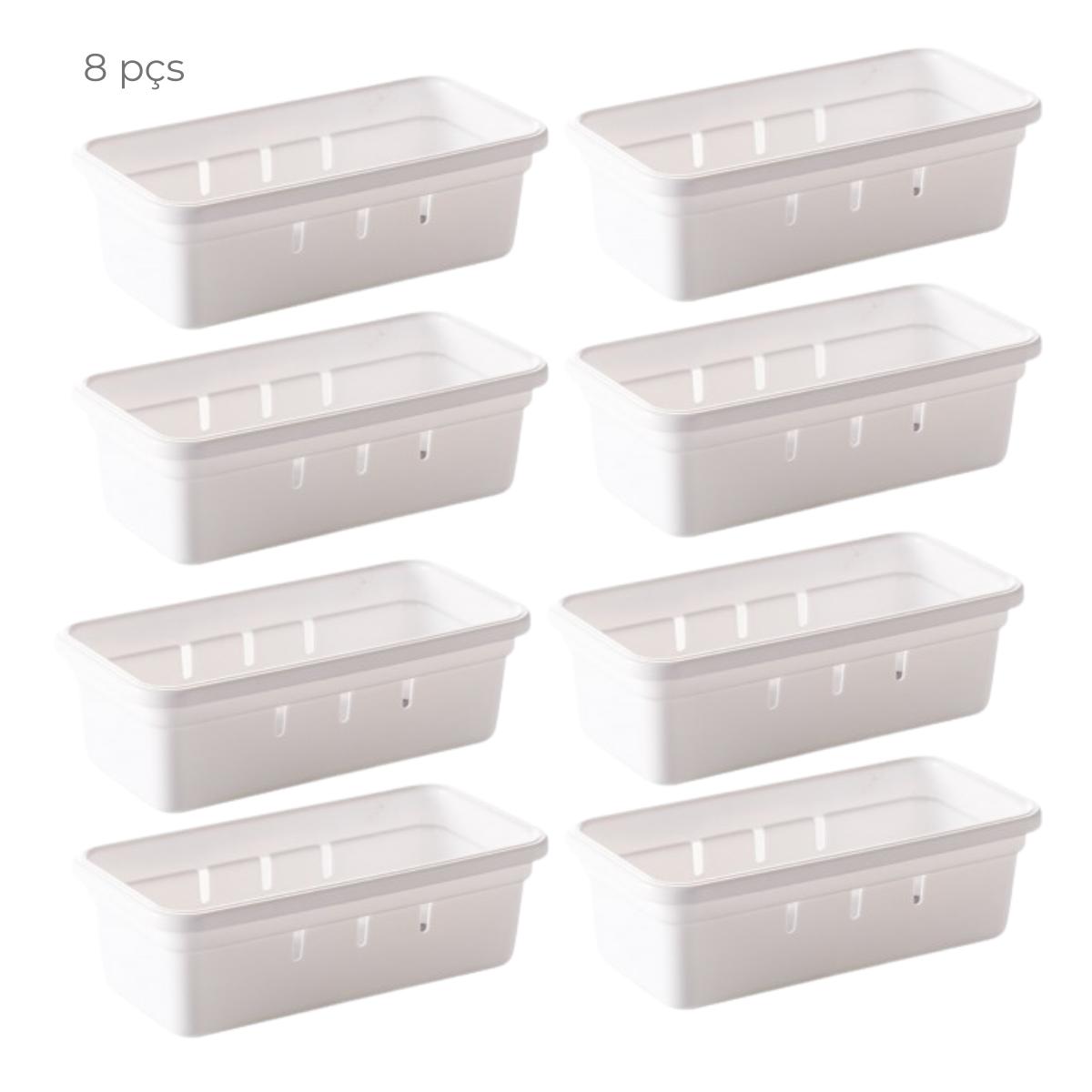 Conjunto 8 organizadores de gaveta 15cm com encaixe Branco