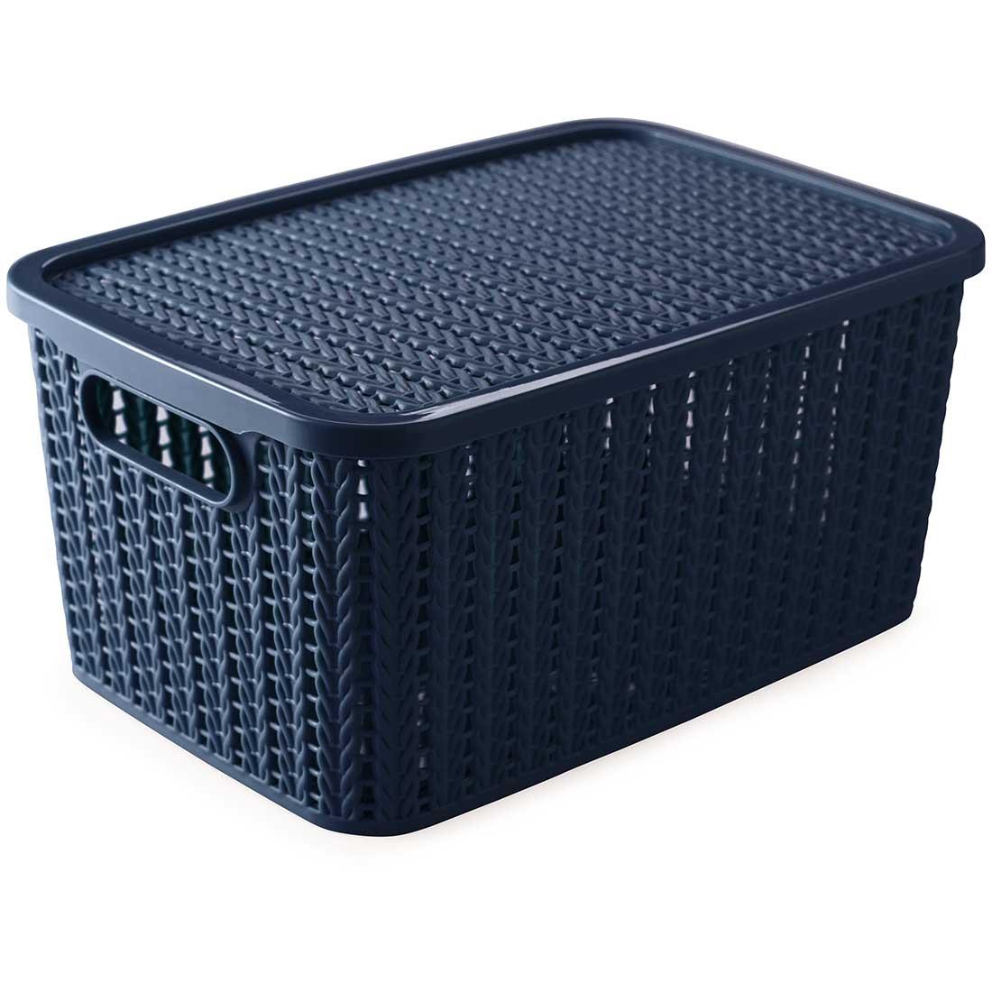 Caixa organizadora retangular 4,7 Litros Decor Trama Azul