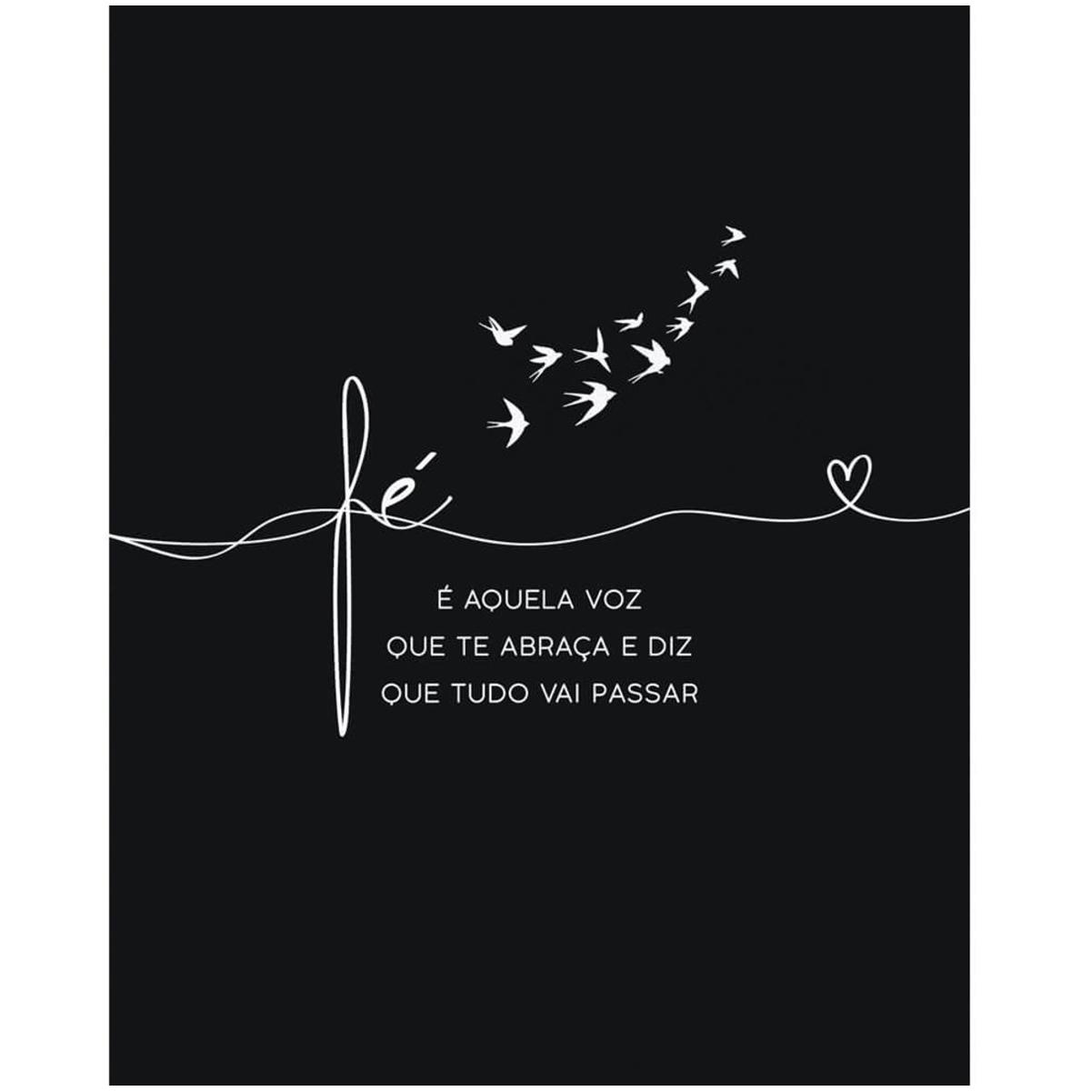 Placa decorativa MDF 24x19cm Fé é aquela voz que te abraça