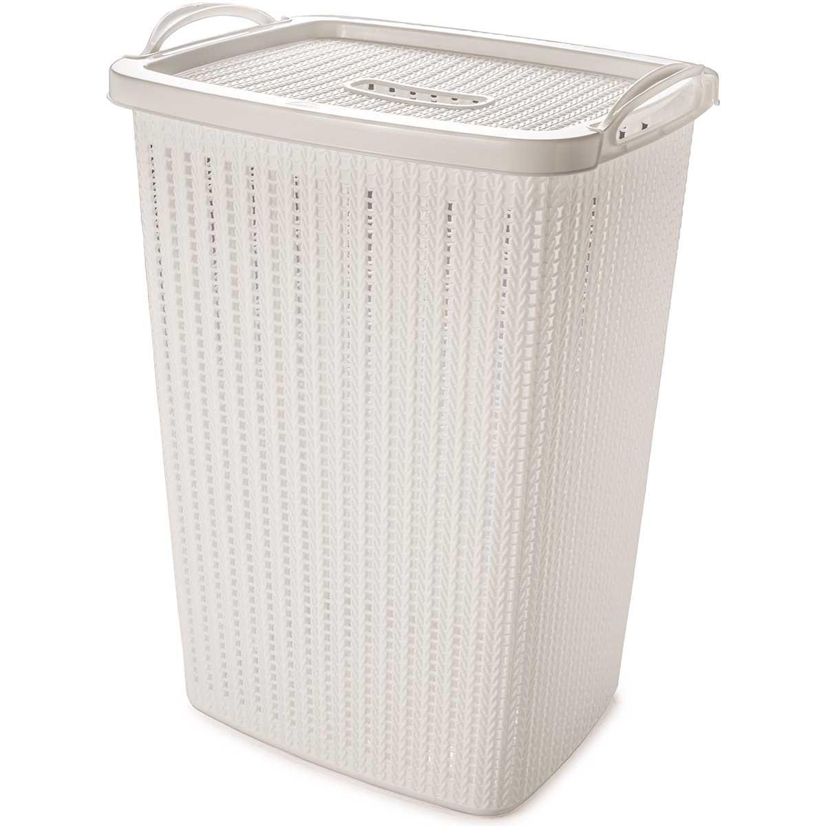 Cesto de roupa 40 litros com tampa e alça Trama Branco