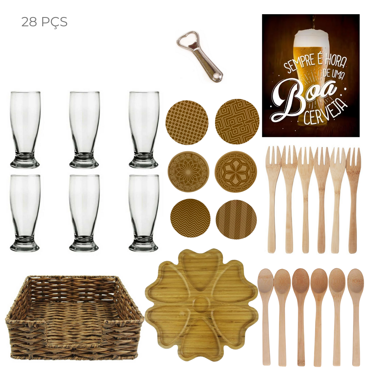 Conjunto com 28 peças para os amantes de uma boa cerveja