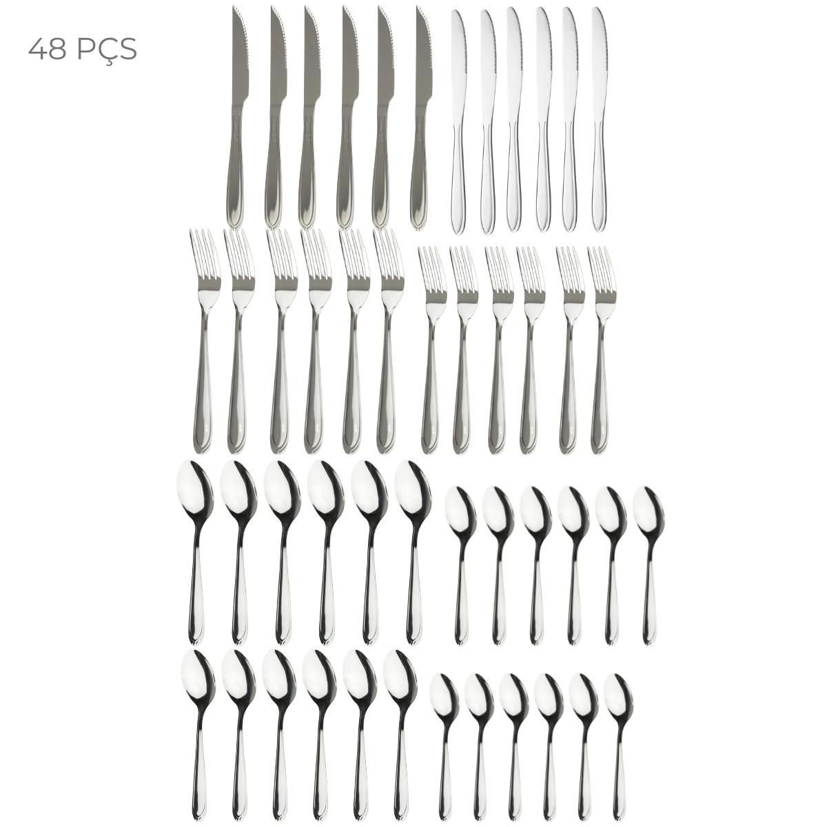 Conjunto de talheres com 48 peças Linha Supreme de Aço Inox