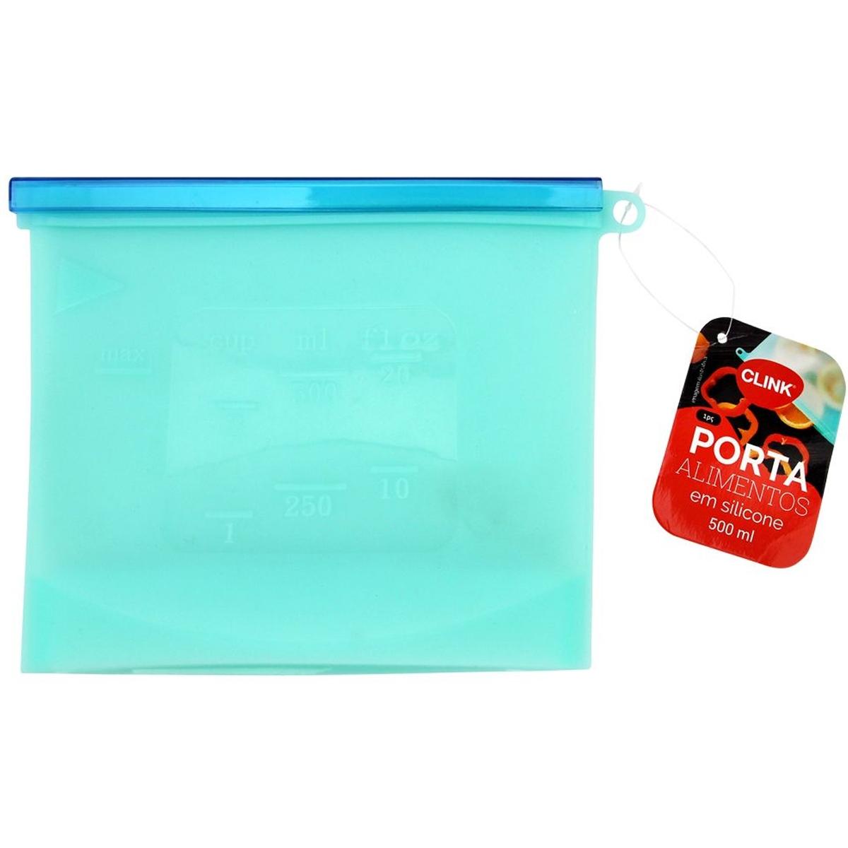 Porta alimentos em silicone 22,8x17,3cm 1000ml até 230° Azul