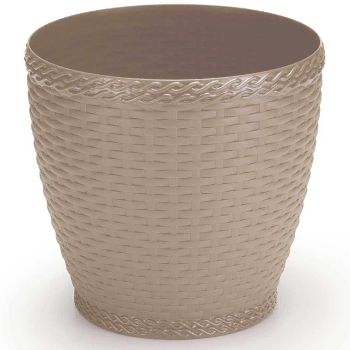 Cachepô vaso de plástico redondo 4,6L 21x20cm Rattan Palha