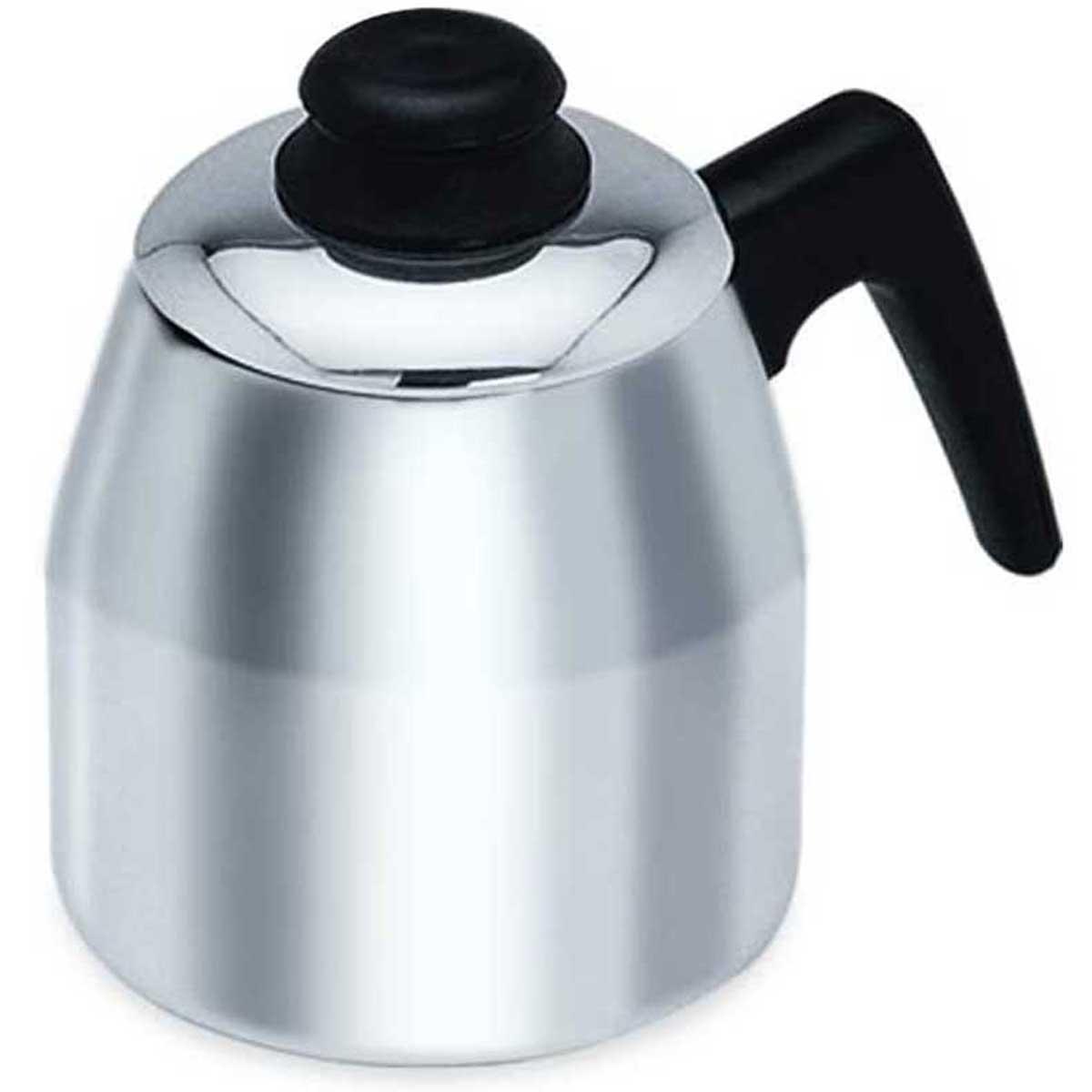Bule para café 1L porta filtro com tampa em alumínio Polido