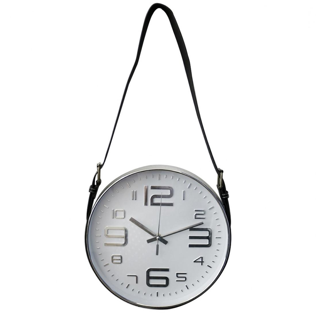 Relógio de parede com alça preto e cinza 30cm 1 pilha AA