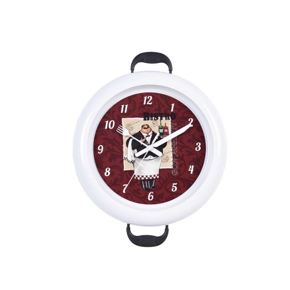 Relógio de parede Sweep 30cm com alça bistro pilha AA Branco