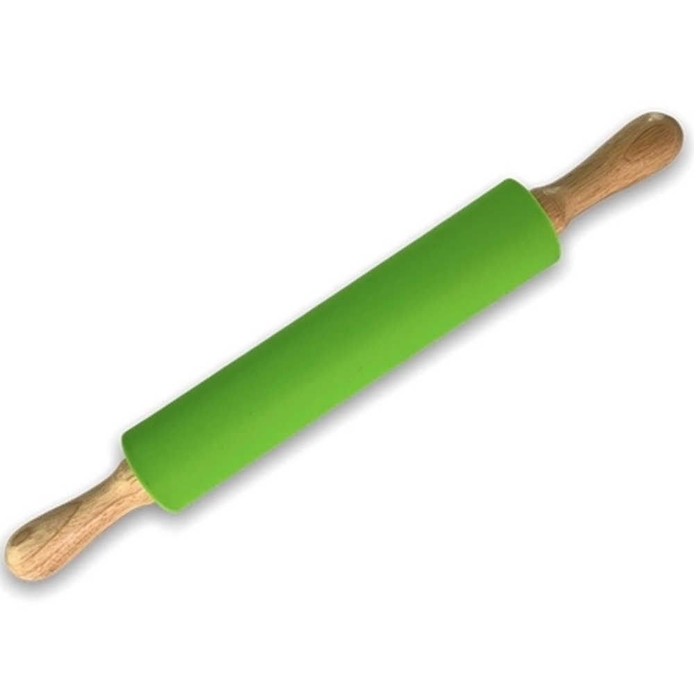 Rolo de massa em silicone com cabo em madeira 45x5,3cm Verde