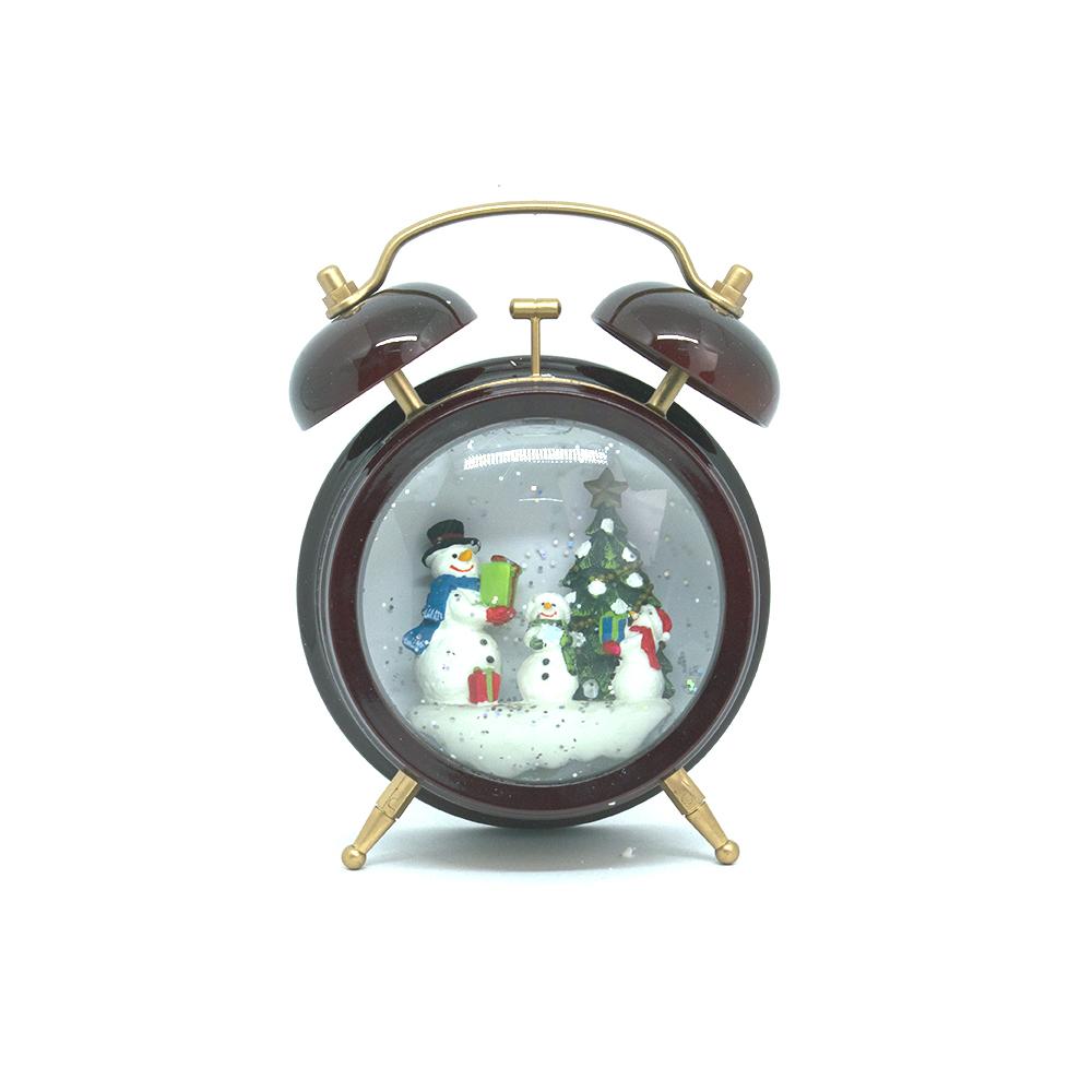 Relógio enfeite natalino com 1 Led a pilhas AA em Plástico