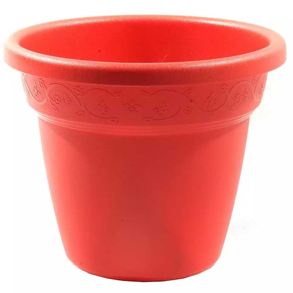 Cachepo vaso polipropileno redondo 13x11cm vermelho Vicenza