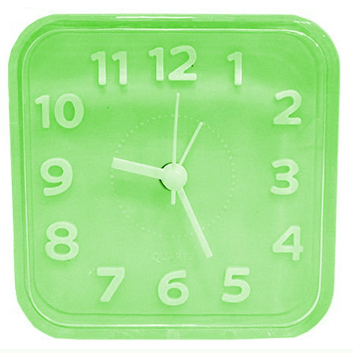 Relógio despertador de mesa quadrado 8,5cm 1 pilha AA Verde