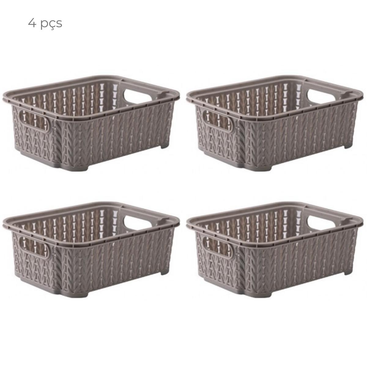 Conjunto com 4 cestas organizadoras 990ml empilhável Fendi
