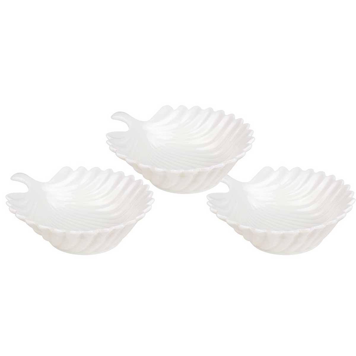 Conjunto de petisqueira Folha 11,5cm porcelana 3 pçs Branca
