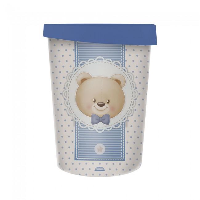 Lixeira de plástico com tampa 5,5 Litros Decor Urso Azul