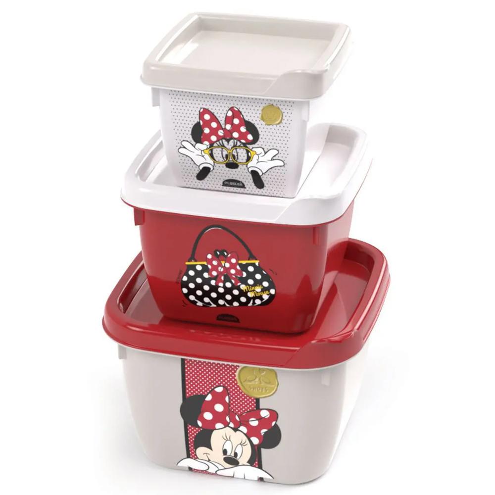Conjunto de 3 potes Conect quadrado Minnie Baby Vermelho