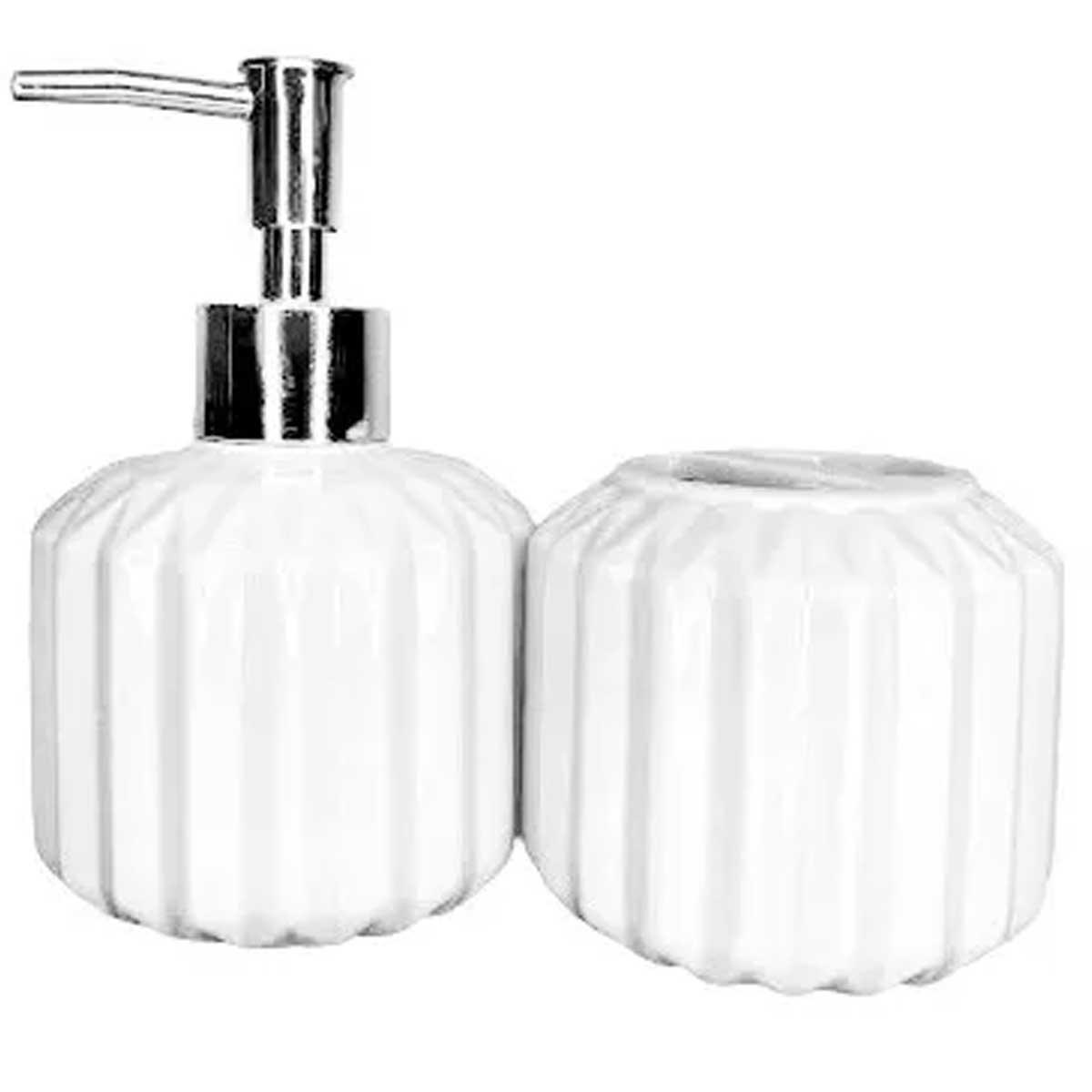 Kit para banheiro em cerâmica redondo bojudo 2 peças Branco