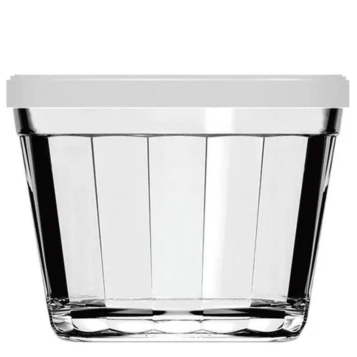 Tigela de vidro 350ml estilo Americano com tampa Branca
