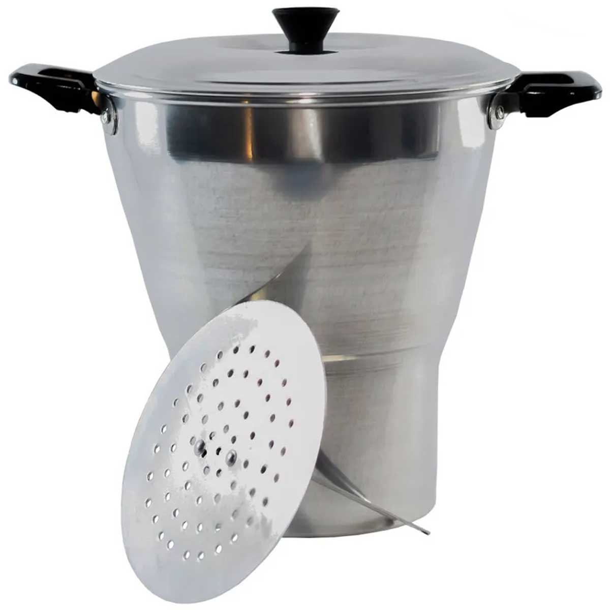 Cuscuzeiro em alumínio polido 18cm cozinha legumes no vapor
