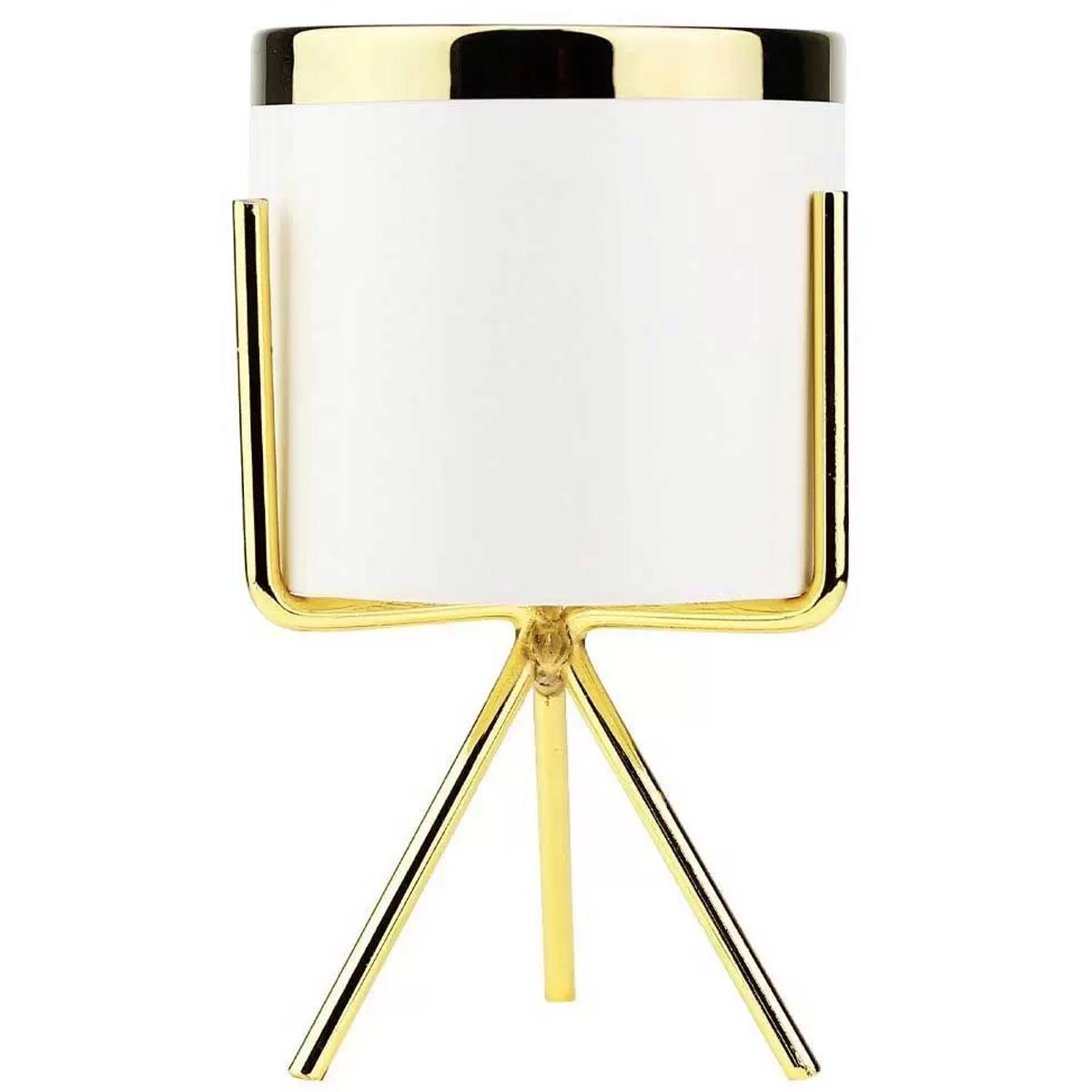 Vaso em porcelana com tripé dourado 14 x 8,3cm White Gold