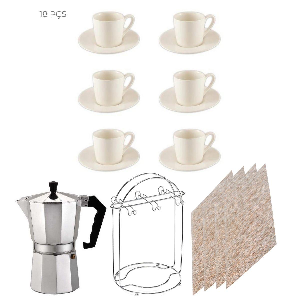 Conjunto dia a dia prático 18 peças Café manhã tarde e noite