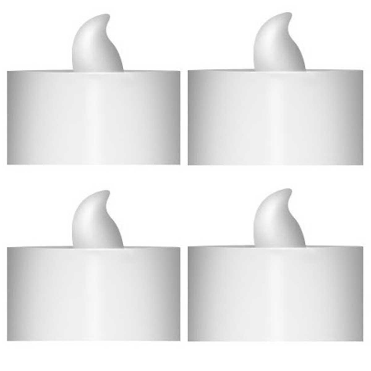 Kit de velas decorativas eletrônicas de LED 5cm 4 pçs Branca