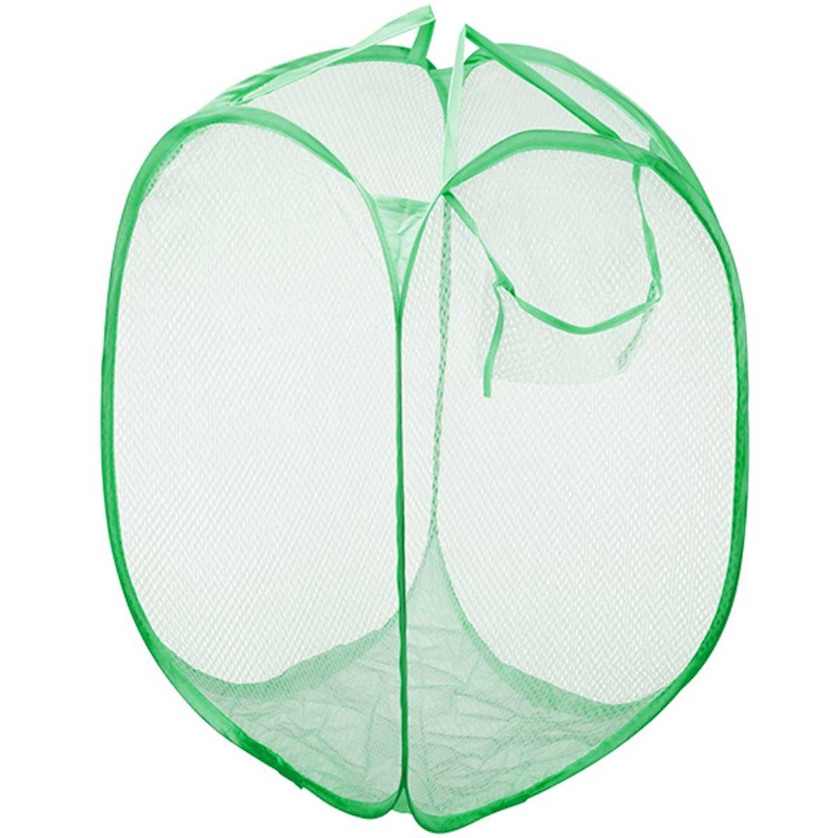 Cesto multiuso dobrável com alça 45x65cm bolso lateral Verde