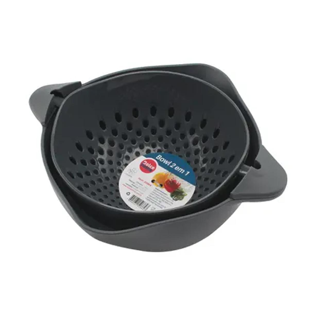 Escorredor e tigela giratória bowl 2 em 1 22cm em Plástico
