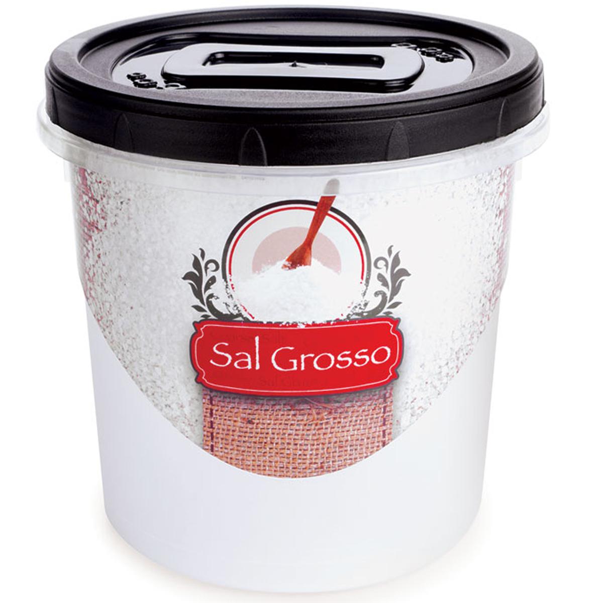 Pote redondo de plástico tampa rosca 1,8L decor Sal Grosso