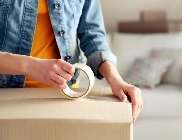 empacotamento, mudança, frete, empacotar caixas de mudanças