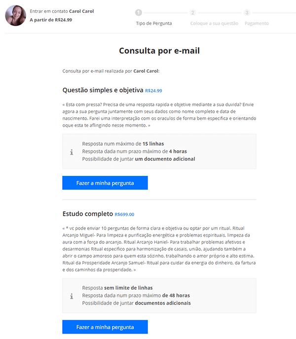 consulta de vidência por email - opções de consulta