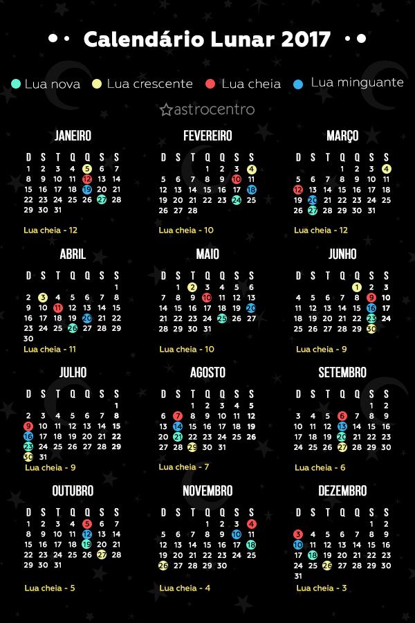 Calendario 20017.Calendario 2017 Com As Fases Da Lua Astrocentro Blog