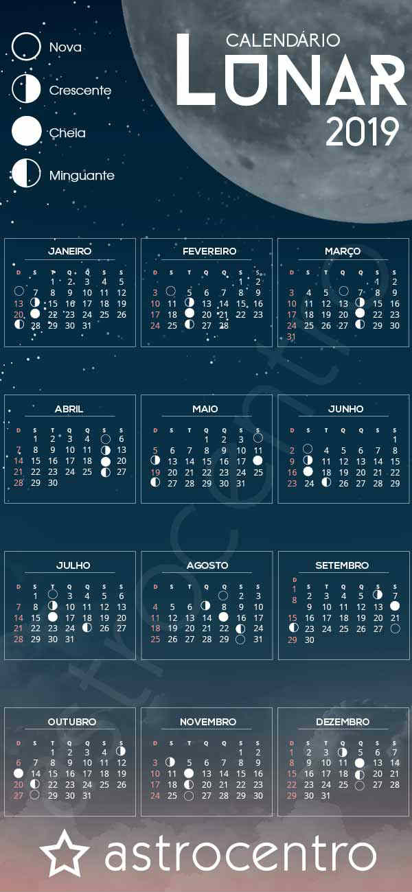 Calendario Mostre Foi 2019.Calendario 2019 Com Fases Da Lua Se Organize Com O Astro