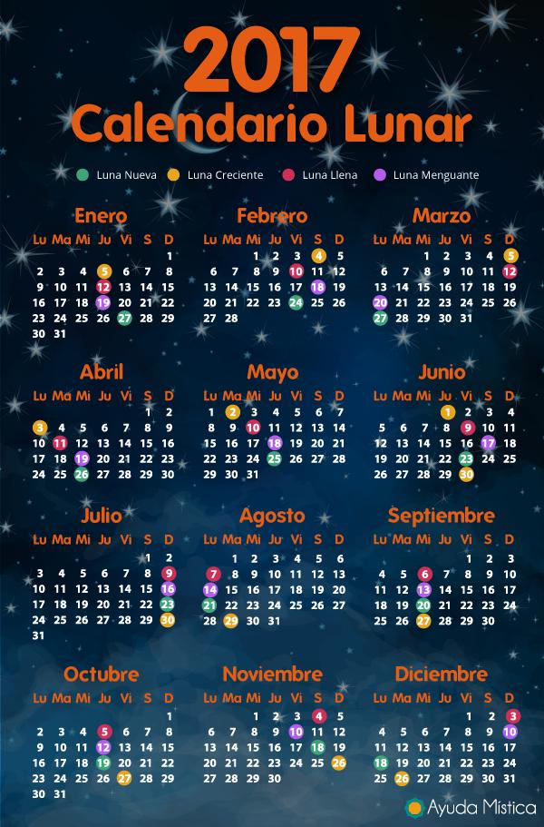Calendario lunar 2017 completo con eclipses hemisferio Calendario 2017 con lunas