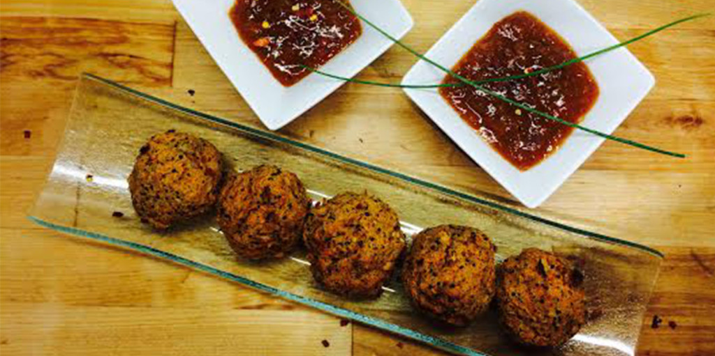 Bean Balls with Sweet Chili Sauce