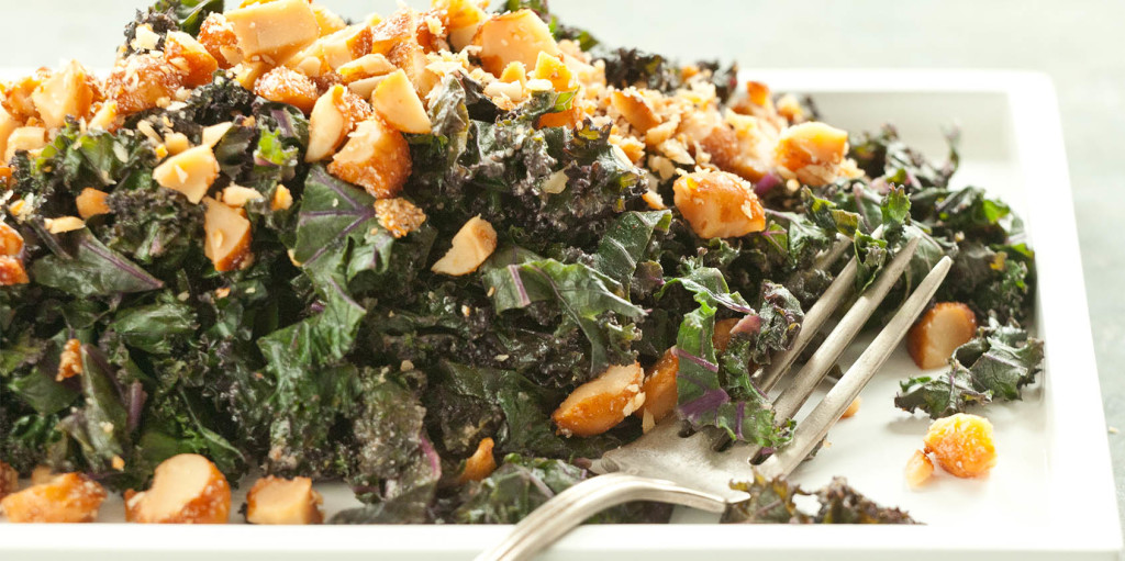 Kale with Honeyed Macadamia Nuts