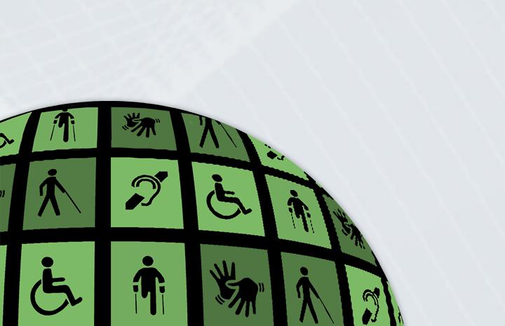 Destaque com ícones mostrando diferentes formas de deficiência.