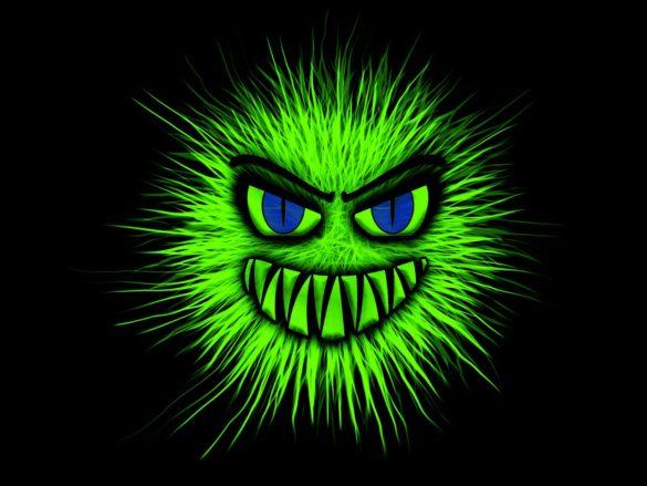 Doenças causadas por bactérias: ilustração figurativa de bactéria verde com rosto maligno