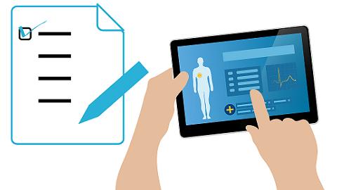 Ilustração de um médico vendo informações de um prontuário eletrônico em um tablet