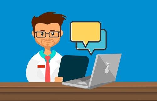 Telediagnóstico: ilustração de médico sentado em uma mesa com um notebook a sua frente